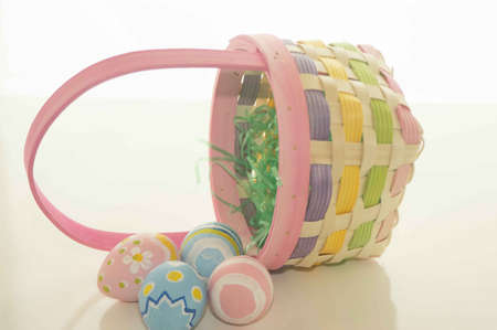 the feast of the passover: Easter Basket With Grass and Eggs