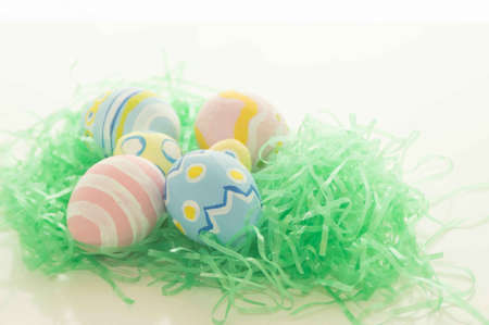 the feast of the passover: Easter Eggs on Green Grass