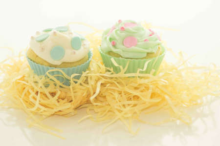Easter Cupcakes on Yellow Grass Stock Photo - 17744009