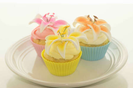 Easter Cupcakes With Flowers On A Plate Stock Photo - 17743999