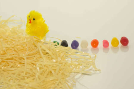the feast of the passover: Easter Chick With Yellow Grass and Jelly Beans Stock Photo