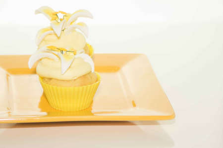 Easter Cupcake On A Yellow Plate photo