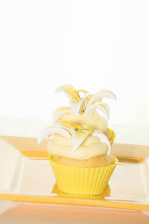 pascha: Easter Cupcake On A Yellow Plate Stock Photo