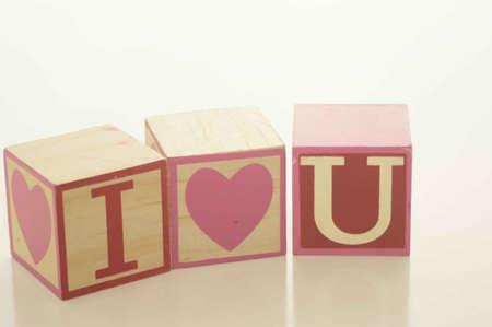 Valentines Day I Love U Blocks Stock fotó