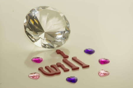 valentine s Day I Will with Heart and Large Diamond and Small Gems