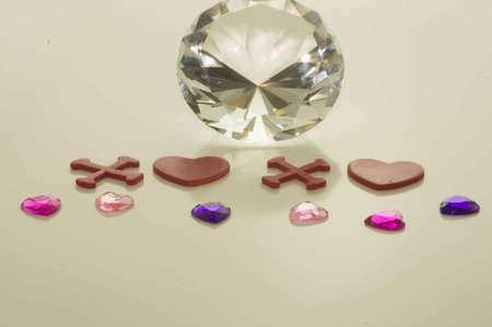 valentine s Day XOXO with Hearts and Large Diamond and Small Gems Stock Photo - 17744044