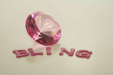 Valentine s Day Bling with Large Pink Diamond Stock Photo - 17744031