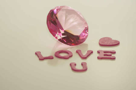Valentine s Day Love U with Large Pink Diamond and Heart Stock Photo - 17744032