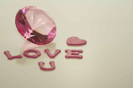 Valentine s Day Love U Baby with Large Pink Diamond and Heart Stock Photo - 17744036