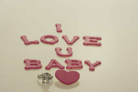 Valentine s Day Hearts I Love U Baby with Ring and Heart Stock fotó