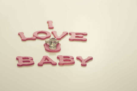 Valentine s Day Hearts I Love U Baby with Ring Stock Photo - 17744029
