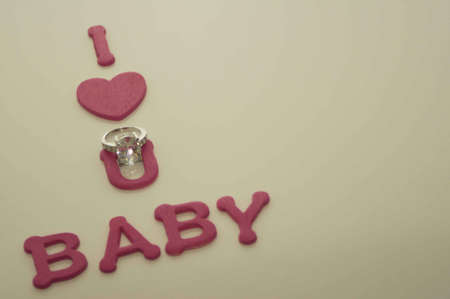 Valentine s Day Hearts I Love U Baby with Ring Stock Photo - 17744024