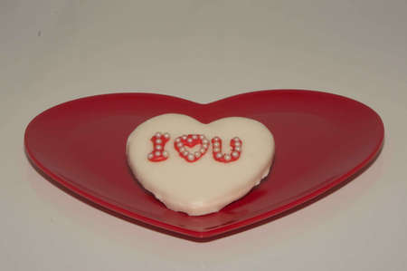I Love U Heart Cookie On Red Heart Plate Stock Photo - 17744077