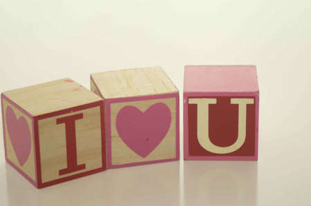 Valentine s Day I Love U Blocks Stock Photo - 17744080