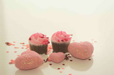 Valentine s Day Cupcakes and Heart Confetti wtih Pink Hearts