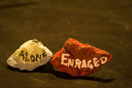 elation: Emotion Rocks - Alone and Enraged Stock Photo