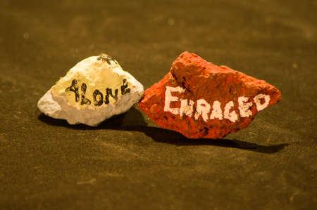enraged: Emotion Rocks - Alone and Enraged Stock Photo