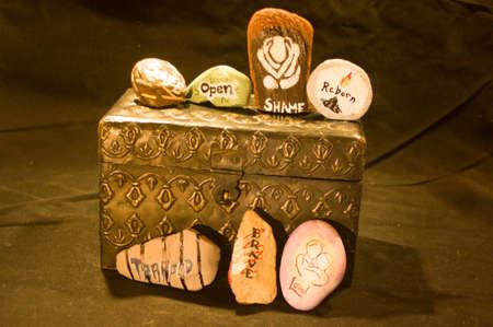 Emotion Rocks on Metal Box