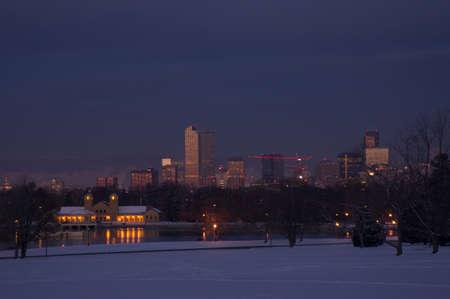 denver parks: Early Morning Snowy Denver Skyline Stock Photo