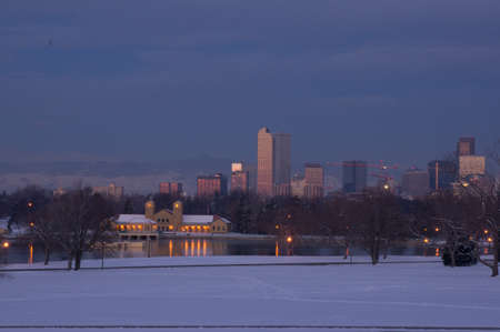 denver at sunrise: Downtown Denver Skyline Before Sunrise