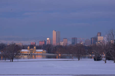 Downtown Denver Skyline at Dawn Stock Photo - 18082744