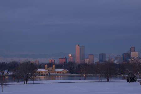 denver skyline at sunrise: Downtown Denver Skyline Before Sunrise