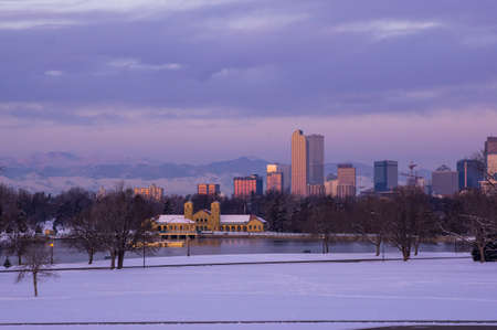 city park boat house: Downtown Denver Skyline at Dawn