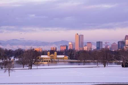 city park boat house: Downtown Denver Skyline at Sunrise