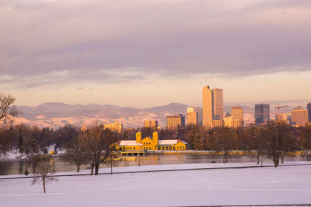 denver parks: Downtown Denver Skyline at Sunrise