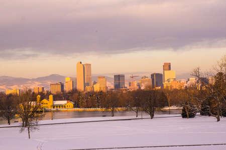 winter sunrise: Downtown Denver Skyline at Sunrise