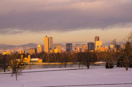 denver skyline at sunrise: Downtown Denver Skyline at Sunrise
