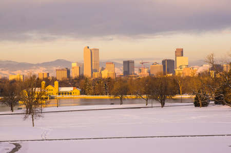 denver skyline at sunrise: Downtown Denver Skyline at Sunrise