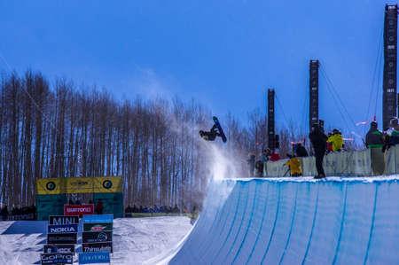 Vail, Co. - February 28, 2013 - Burton US Open Snowboarding Championship Half Pipe Nikolas Baden Editorial