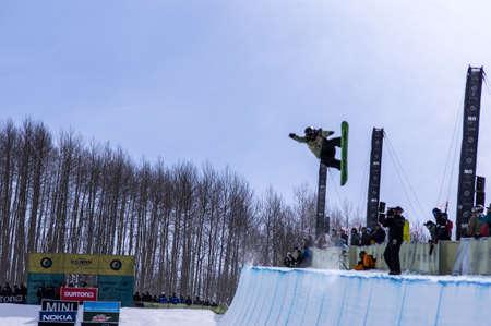 Vail, Co. - February 28, 2013 - Burton US Open Snowboarding Championship Half Pipe Brett Esser Editorial