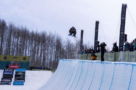 anon: Vail, Co. - February 28, 2013 - Burton US Open Snowboarding Championship Half Pipe Scotty James Editorial