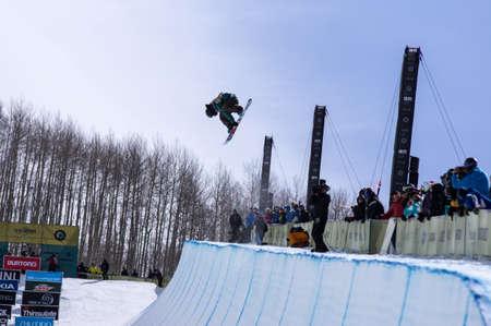 anon: Vail, Co. - February 28, 2013 - Burton US Open Snowboarding Championship Half Pipe Eiju Hirano Editorial
