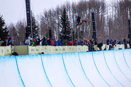 Vail, Co. - February 28, 2013 - Burton US Open Snowboarding Championship Half Pipe Luke Staveley