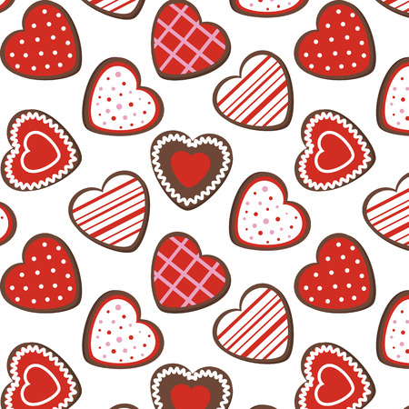 Seamless pattern of cookies in the form of hearts Vector
