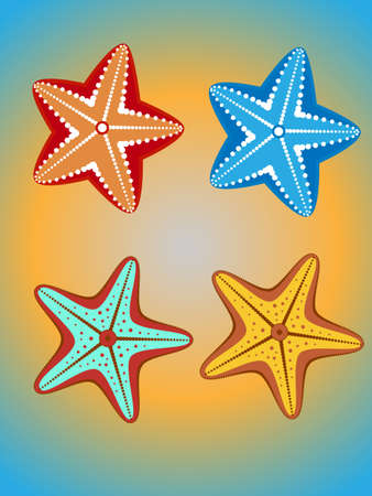 seafish: set of four colorful starfish on a yellow-blue background