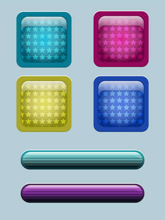 technology symbols metaphors: colored buttons with different shape patterns inside