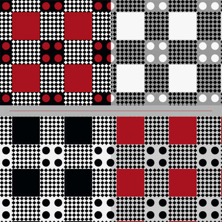 Four seamless geometric pattern in different color combinations Stock Vector - 29304525