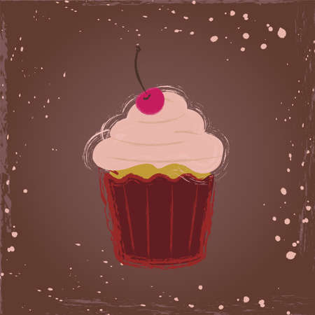 Сupcake with a cherry in vintage style Stock Vector - 29462924