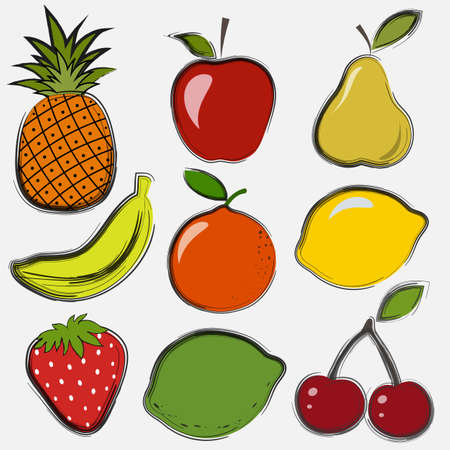Set of fruits and berries in a drawing style Vector