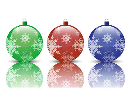 Three realistic Christmas tree ball on a white background Vector