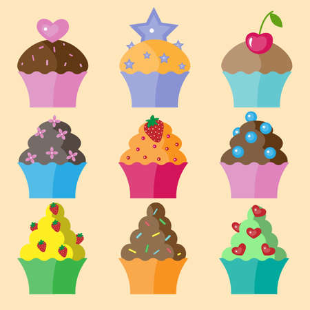 Set of nine different colors cupcake Vector