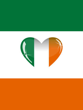irish ethnicity: The colors of the Irish flag and a heart of glass in the center