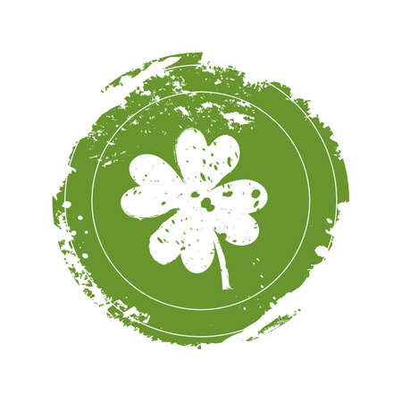 stroke of luck: Icon of clover in grunge style on a white background