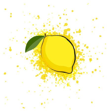 Image with splashes of lemon juice on a white background Vector