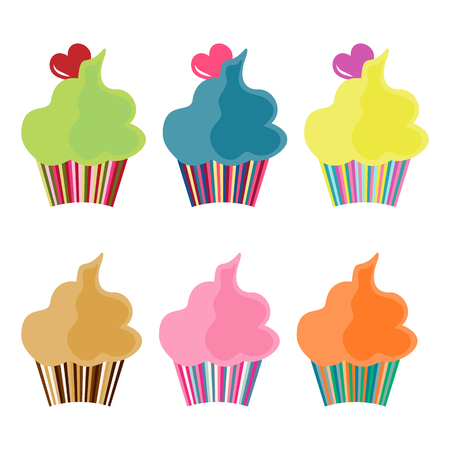 meringue: Set of six cupcakes icons in a simple style on a light background Illustration