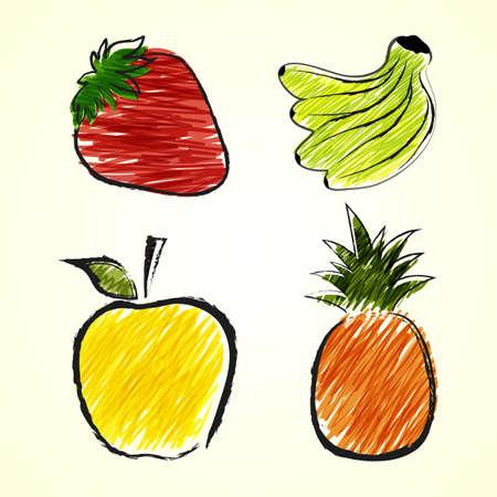 Sketch drawings of fruits, apples, strawberries, bananas and pineapple Vector